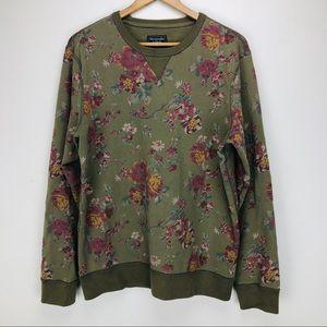 Abercrombie & Fitch Olive Floral Crew Sweatshirt M